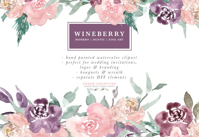 Clipart watercolor clip library stock Wine Berry Burgundy Watercolor Flowers Clipart, Watercolor Bouquets Wreaths  for Wedding Invitations & Logo clip library stock