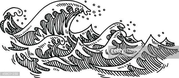 Clipart waves black and white svg freeuse Hand-drawn vector drawing of some Ocean Waves. Black-and-White ... svg freeuse