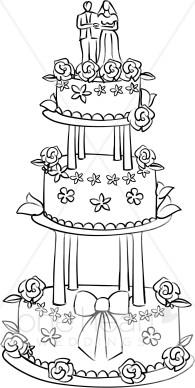 Wedding cakes clipart vector transparent Three Tier Wedding Cake Clipart | Wedding Ceremony Clipart vector transparent