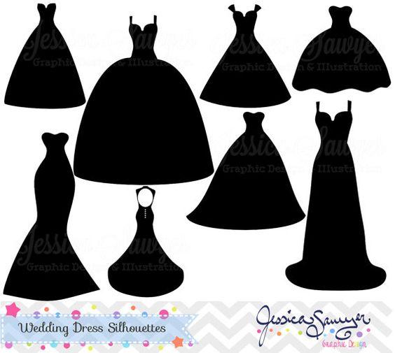 Clipart wedding dress clipart banner library stock Wedding dress clipart, silhouette clipart, for greeting cards ... banner library stock