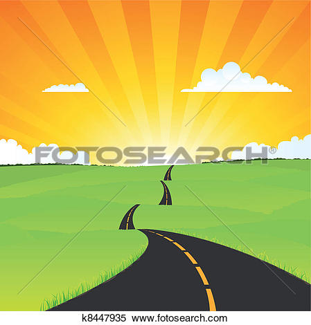 Clipart weg clipart free stock Clip Art of Long Journey Through The Country k8453826 - Search ... clipart free stock