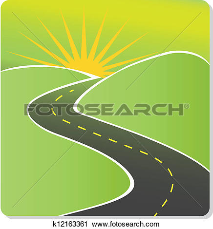 Clipart weg vector royalty free library Clipart of Summer Travel - Long Road Journey k8447920 - Search ... vector royalty free library