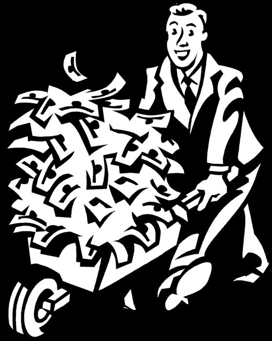 Clipart wheelbarrow money image download Entrepreneur with Windfall Bonanza Wheelbarrow - Vector Image image download