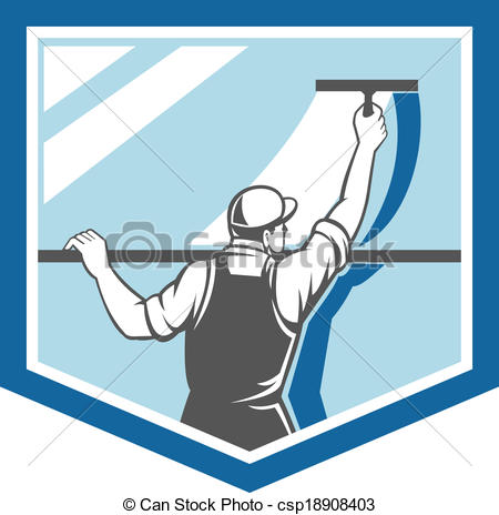 Clipart window washing graphic freeuse download Vector Clipart of Window Cleaner Washer Worker Shield Retro ... graphic freeuse download