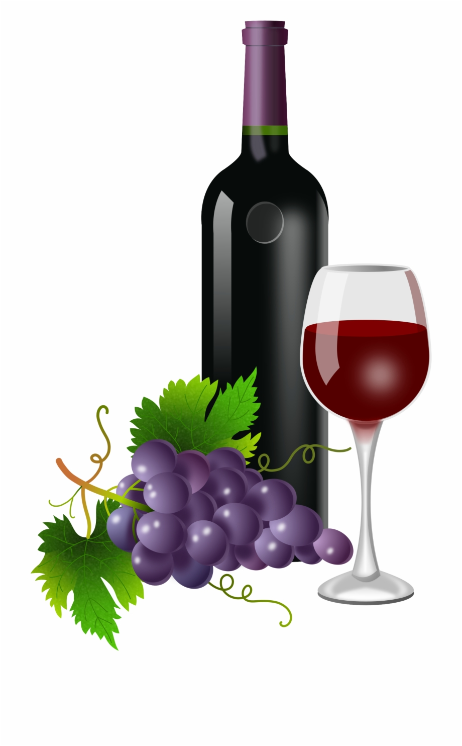 Wine and grapes clipart clipart black and white Png Wine Bottle And Glass - Wine And Grapes Png Free PNG Images ... clipart black and white