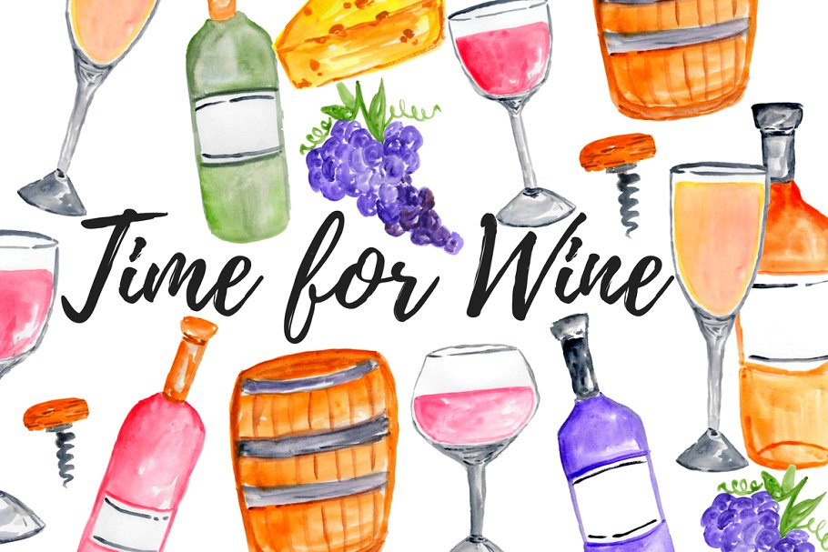 Free clipart images for wine and pasta banner royalty free library Watercolor Wine Clipart banner royalty free library