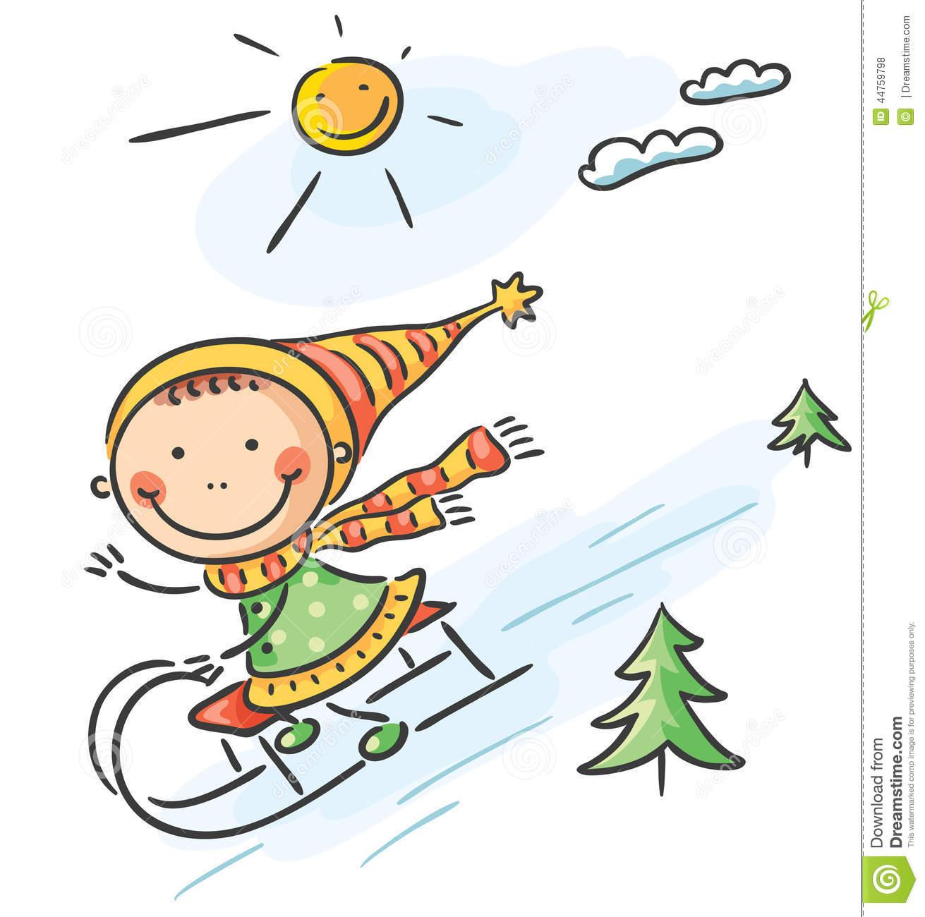 Clipart winter activities graphic freeuse Girl\'s Winter Activities: Sledging Stock Vector Image - Free Clipart graphic freeuse