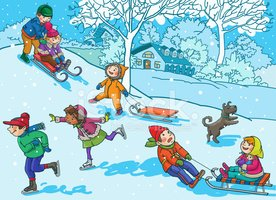 Children playing in snow clipart clip transparent Children Playing With Christmas Winter stock vectors - Clipart.me clip transparent