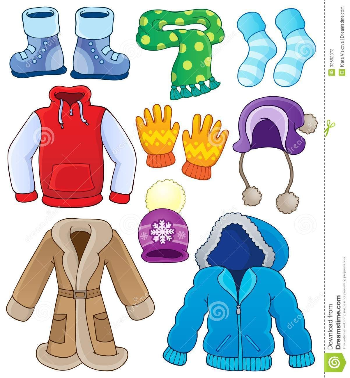 Winter clothes pictures clipart