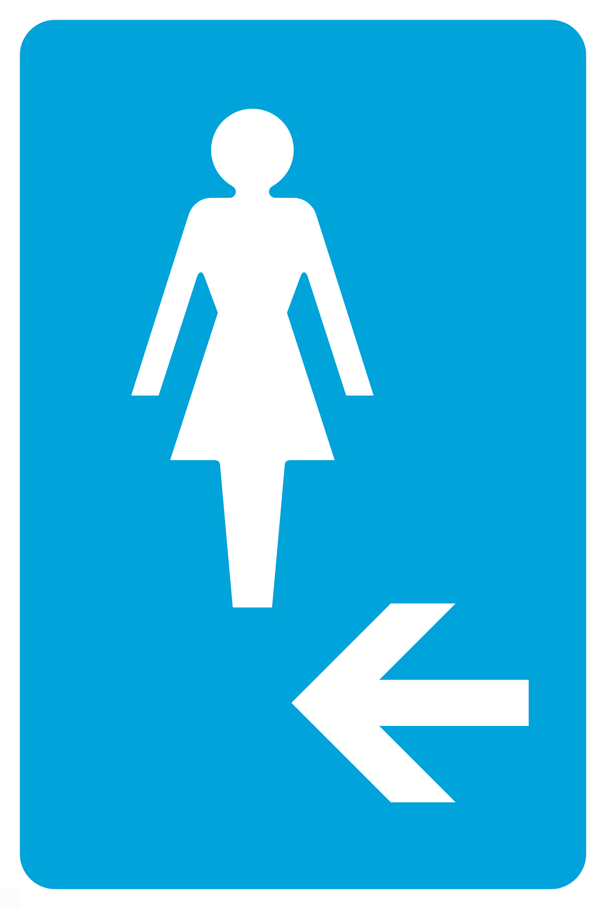 Clipart with arrow pointining left to restroom picture free Details about Ladies Room Left Arrow Pictue Blue White Bathroom Restroom  Sign- Single Sign picture free