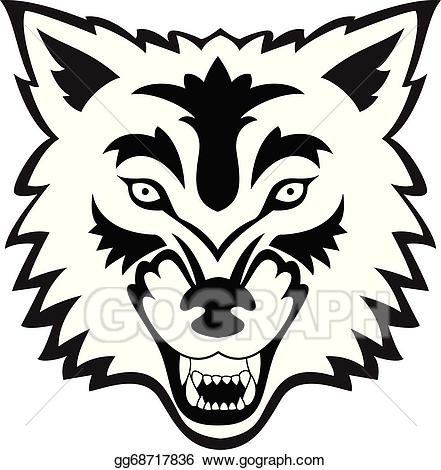 Clipart wolf face picture freeuse download Vector Illustration - Wolf face tattoo. EPS Clipart gg68717836 - GoGraph picture freeuse download