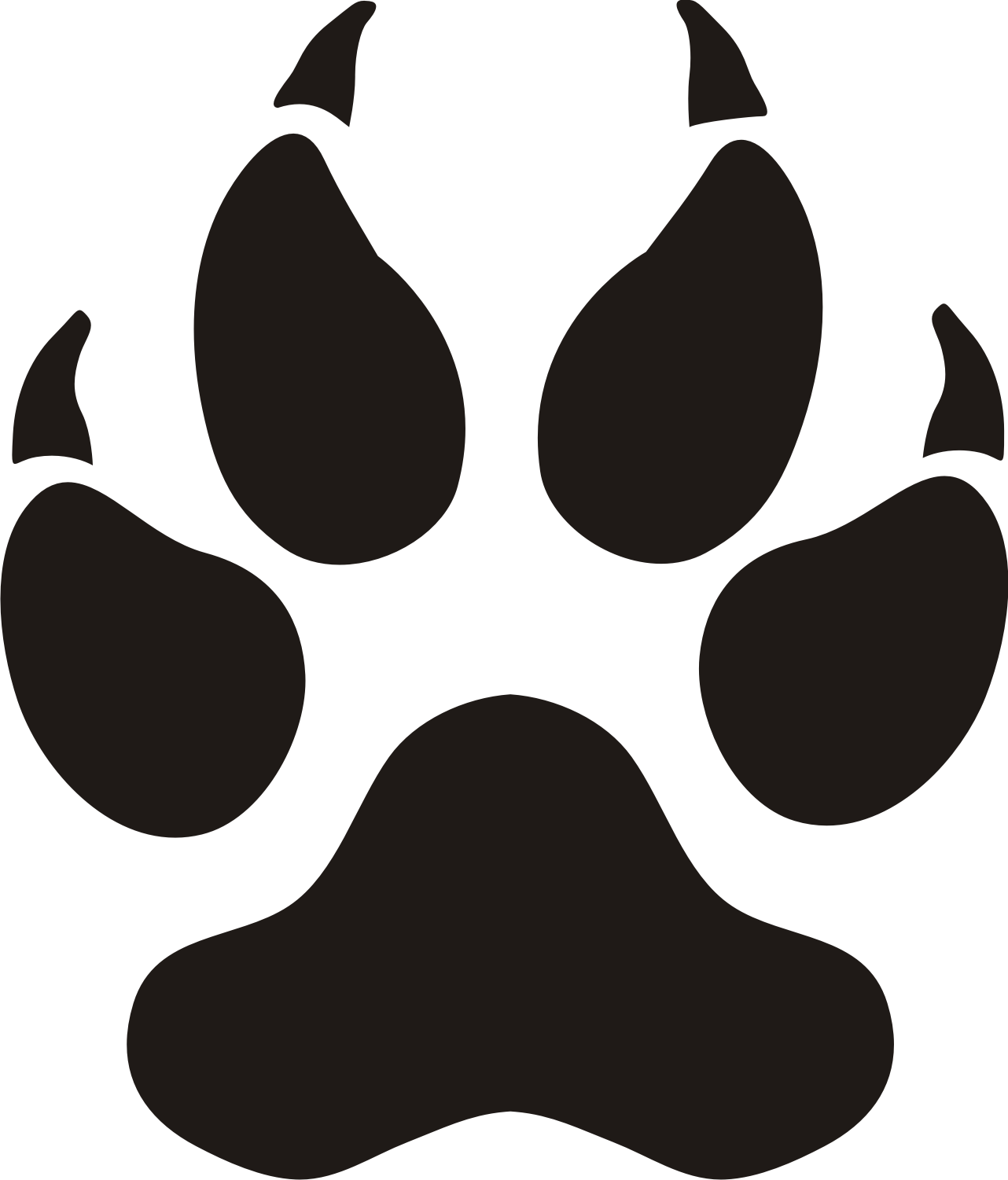 Tiger paw with claws clipart