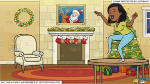 Clipart woman dancing around tree graphic transparent stock Drunk Woman Dancing On Top Of The Table and A Fireplace Beside A Christmas  Tree Background graphic transparent stock