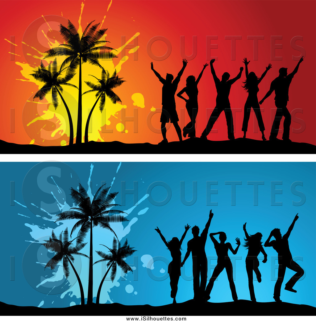 Clipart woman dancing around tree clip art transparent library Clipart of Young Silhouetted Adults Dancing by Palm Trees by KJ ... clip art transparent library