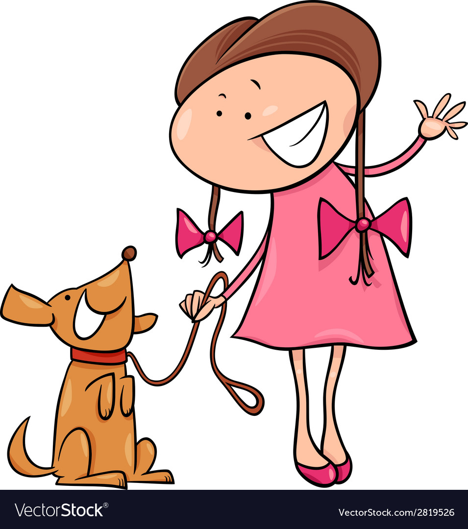 Clipart woman surrounded by dogs clip black and white Cute girl with dog cartoon clip black and white