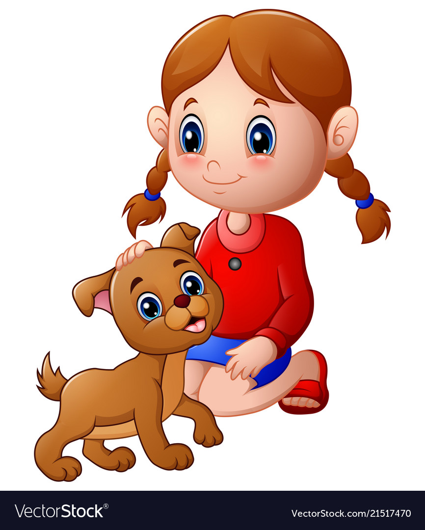 Clipart woman surrounded by dogs svg freeuse library Cartoon little girl stroked the dog s head svg freeuse library