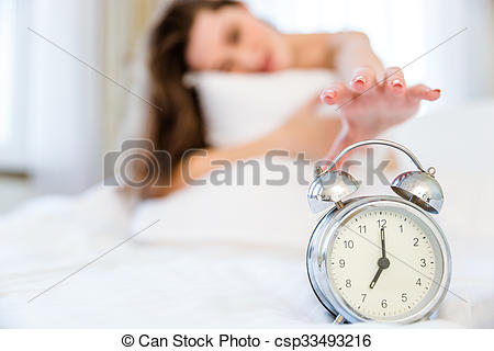 Clipart woman turning off alarm banner royalty free stock Stock Photography of Woman trying to turn off the alarm clock ... banner royalty free stock