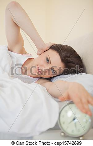 Clipart woman turning off alarm image free library Stock Photographs of Smiling girl turning off her alarm clock ... image free library