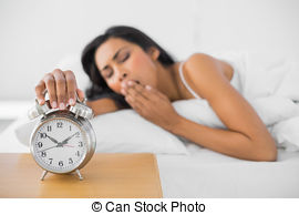 Clipart woman turning off alarm free library Stock Photos of Tired brunette woman turning off the alarm clock ... free library