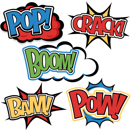 Words smash hit clipart image black and white Superhero Words SVG cutting files for scrapbooking superhero clipart ... image black and white