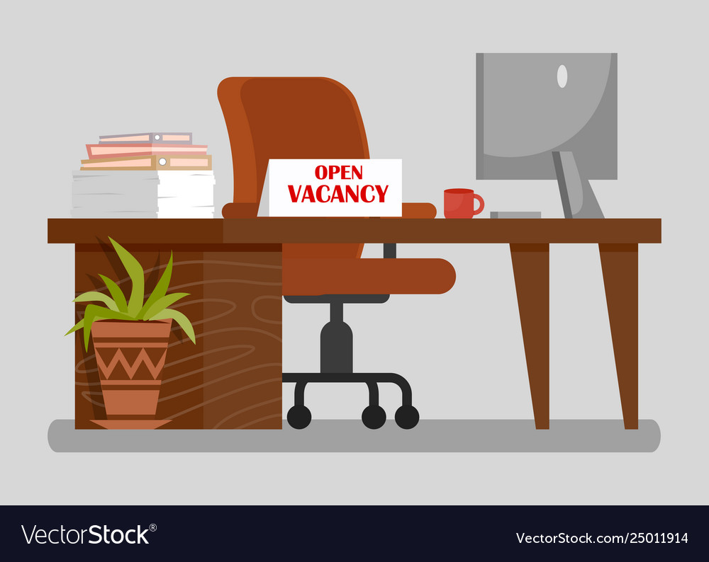 Vacancy sign clipart vector royalty free Office workplace with open vacancy sign clipart vector royalty free