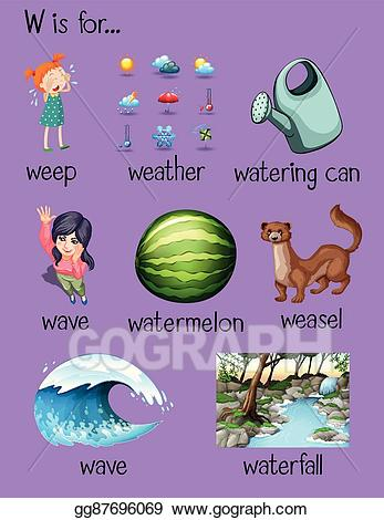 Clipart w-words clip art royalty free library Vector Clipart - Many words begin with letter w. Vector Illustration ... clip art royalty free library