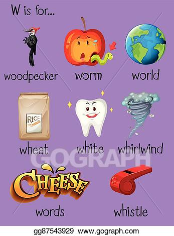 Clipart w-words royalty free library Vector Clipart - Many words begin with letter w. Vector Illustration ... royalty free library