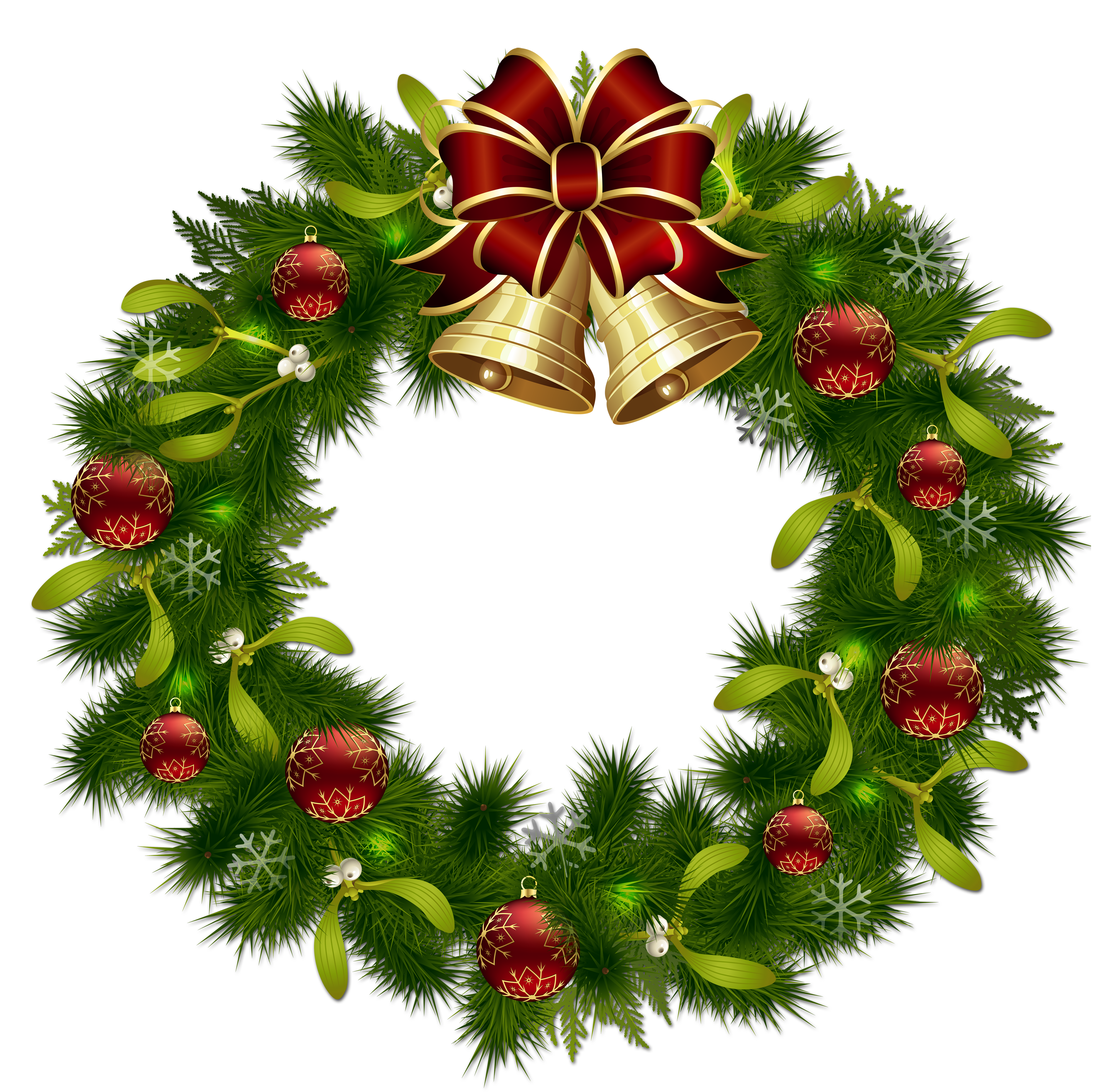 Clipart xmas wreath jpg Transparent Christmas Pinecone Wreath with Gold Bells Clipart ... jpg