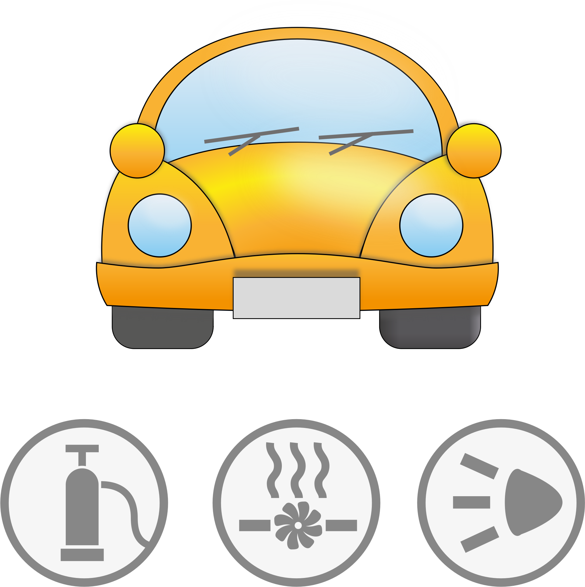 Yellow car clipart clipart transparent library Clipart - Yellow car with symbolic signs for safety clipart transparent library