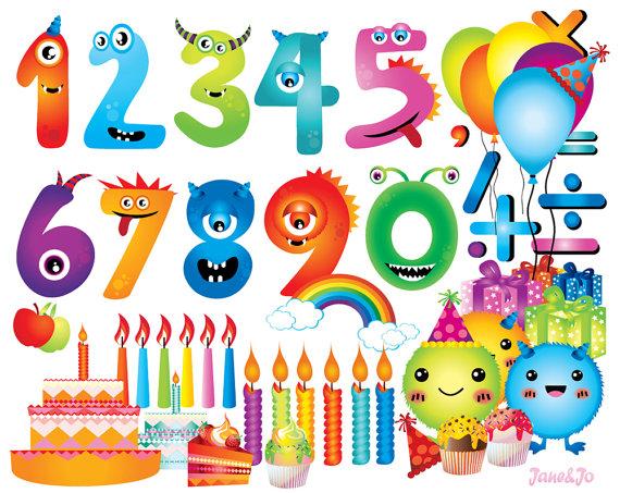 Clipart zahlen geburtstag svg royalty free 131 Cliparts Monster Zahlen Geburtstag Clipart von JaneJoArt svg royalty free