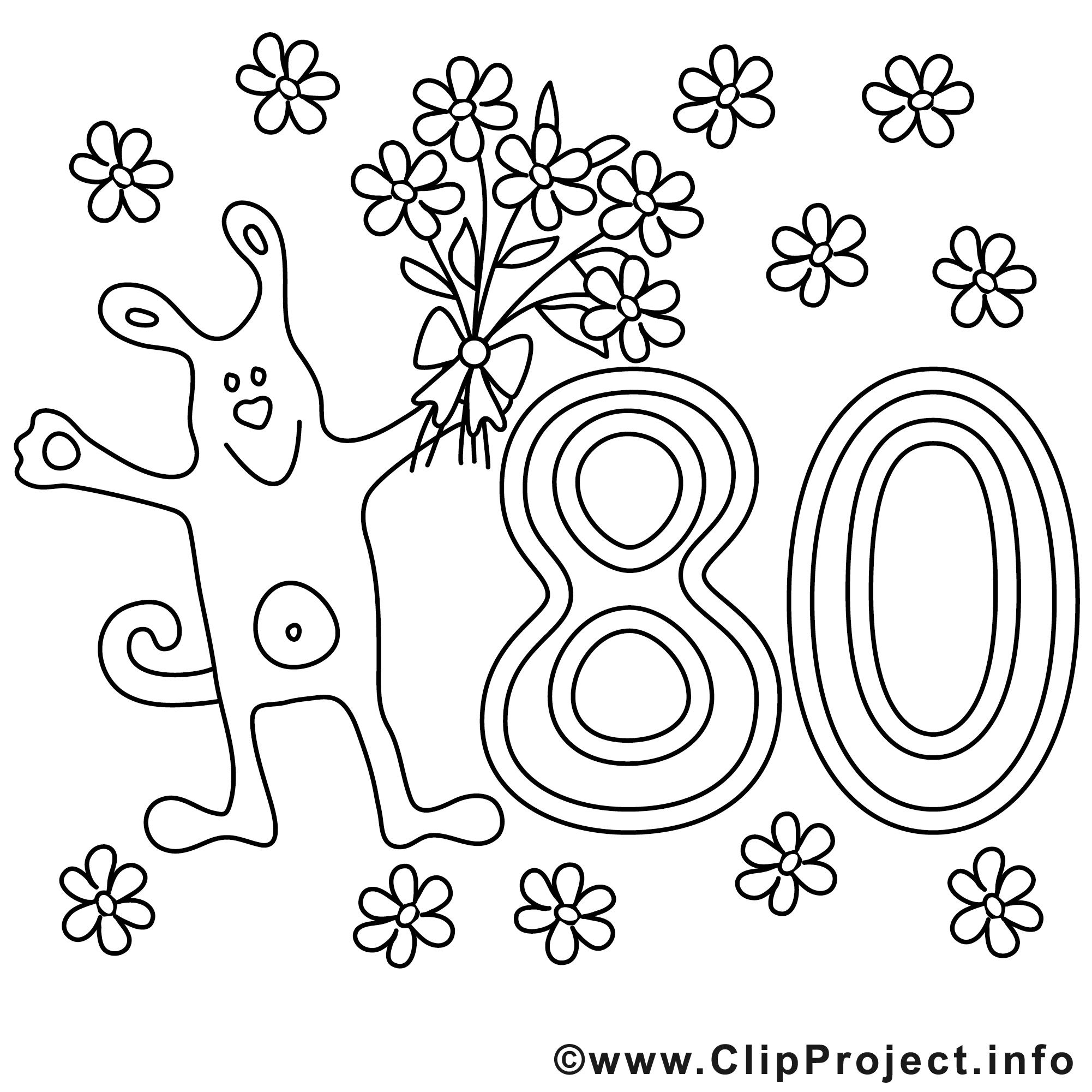 Clipart zum 80 geburtstag clip art black and white Cartoon Hund mit Blumen Bild zum Ausmalen zum 80 Geburtstag clip art black and white