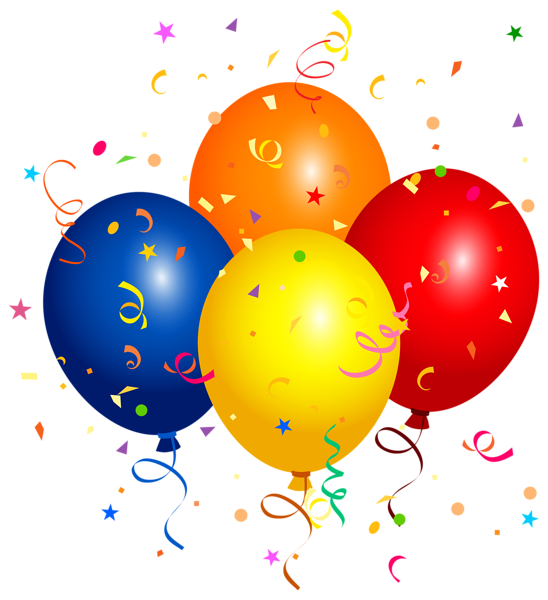 Clipart zum geburtstag free stock Confetti and Balloons PNG Clipart Image | Placas de festas ... free stock