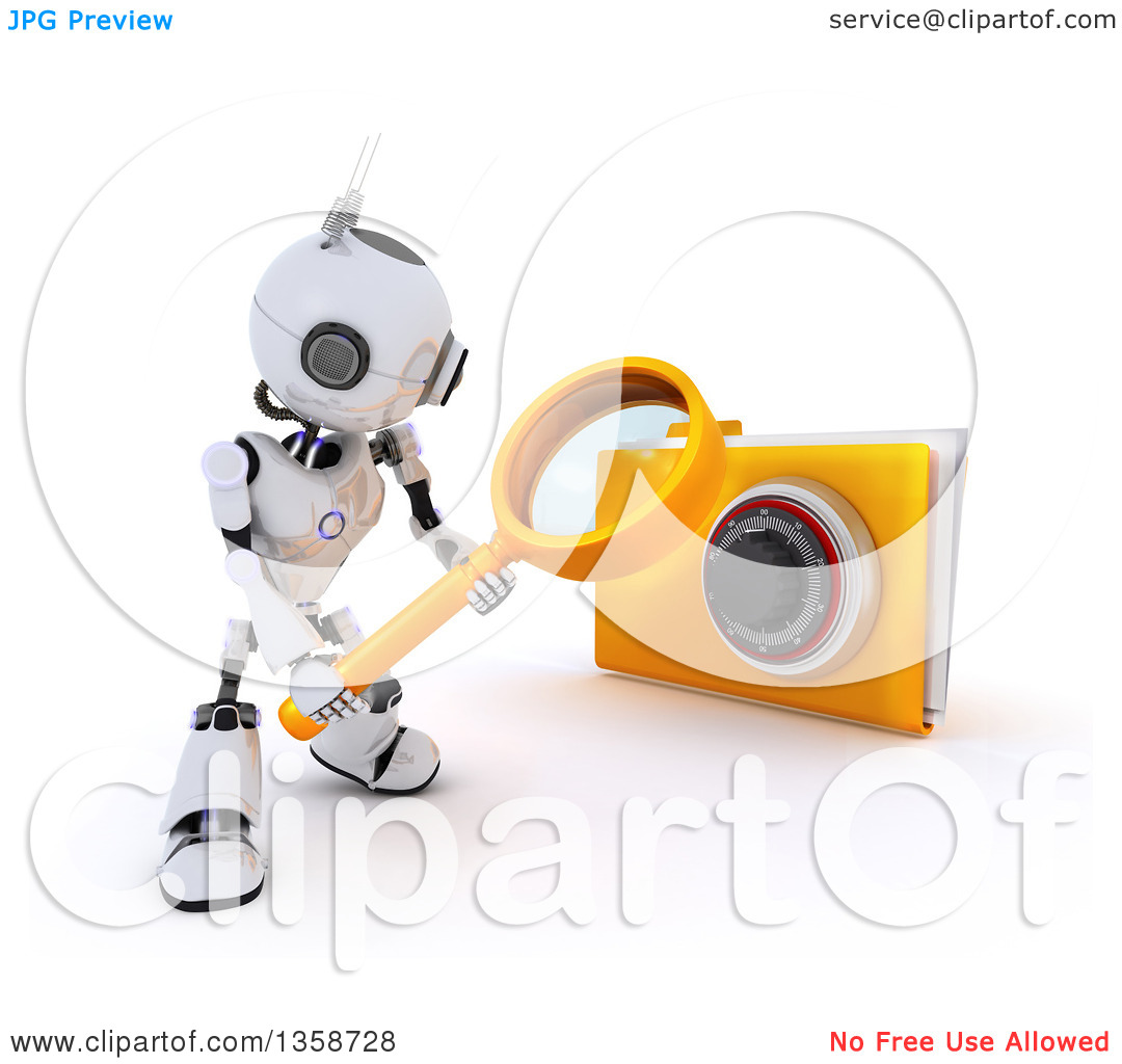 Clipartof search jpg transparent library Clipart of a 3d Futuristic Robot Using a Magnifying Glass to ... jpg transparent library