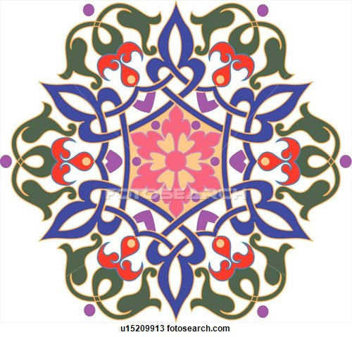 Clipartof search picture free library Clipart of Green, blue, pink, red and purple flower pattern ... picture free library