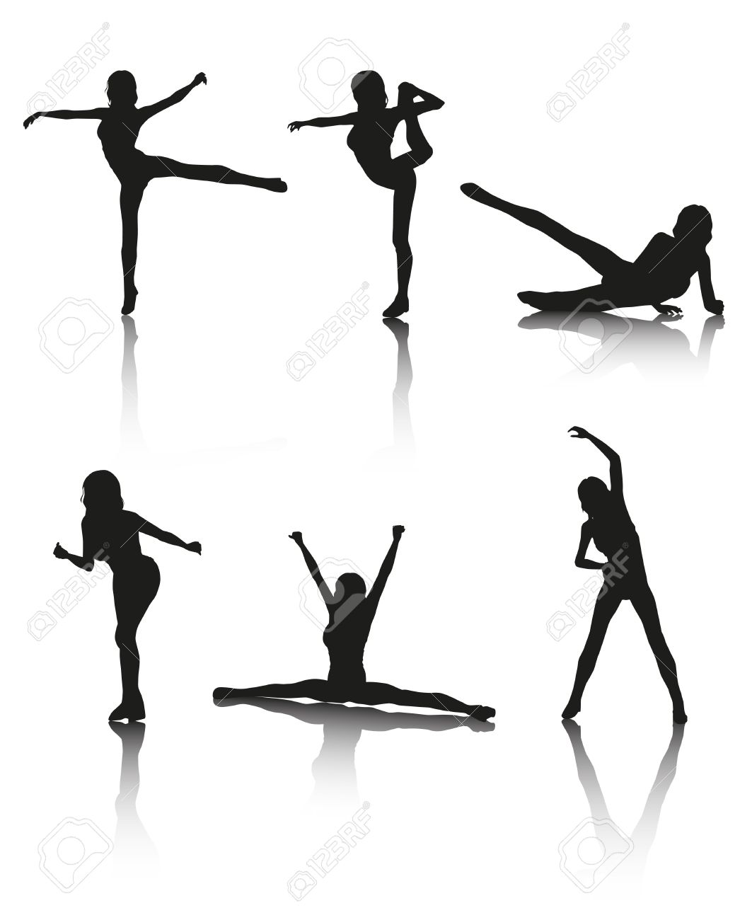 Cliparts aerobic banner freeuse Set Of 6 Women Aerobic Vector Silhouettes With Shadows Royalty ... banner freeuse