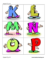 Cliparts alphabet letters. For teaching clipart kid