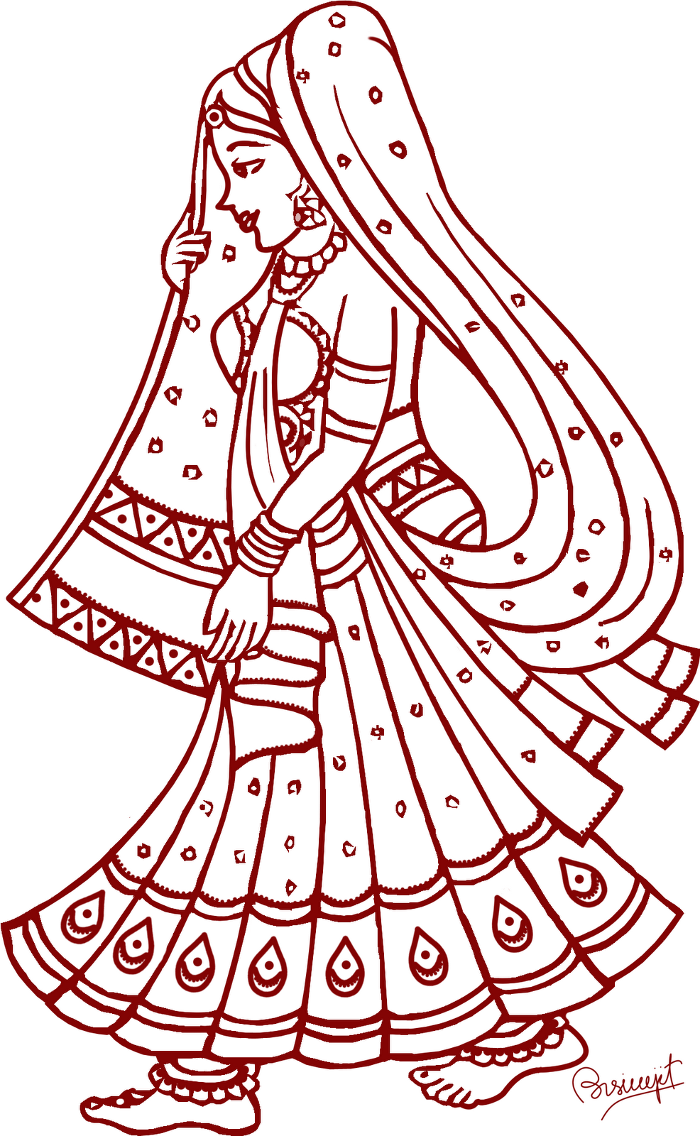Indian wedding clipart images black and white