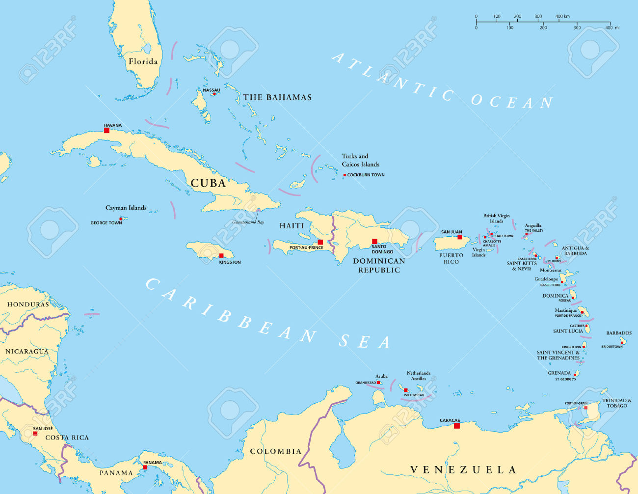 Cliparts antilles. Caribbean large and lesser