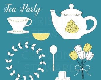 Cliparts essen trinken party vector transparent Tea party clip art | Etsy vector transparent