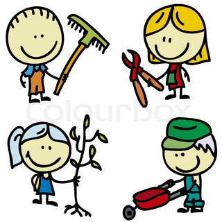 Cliparts garten svg free Icon set of doodle happy children with garden tools | Stock Vector ... svg free