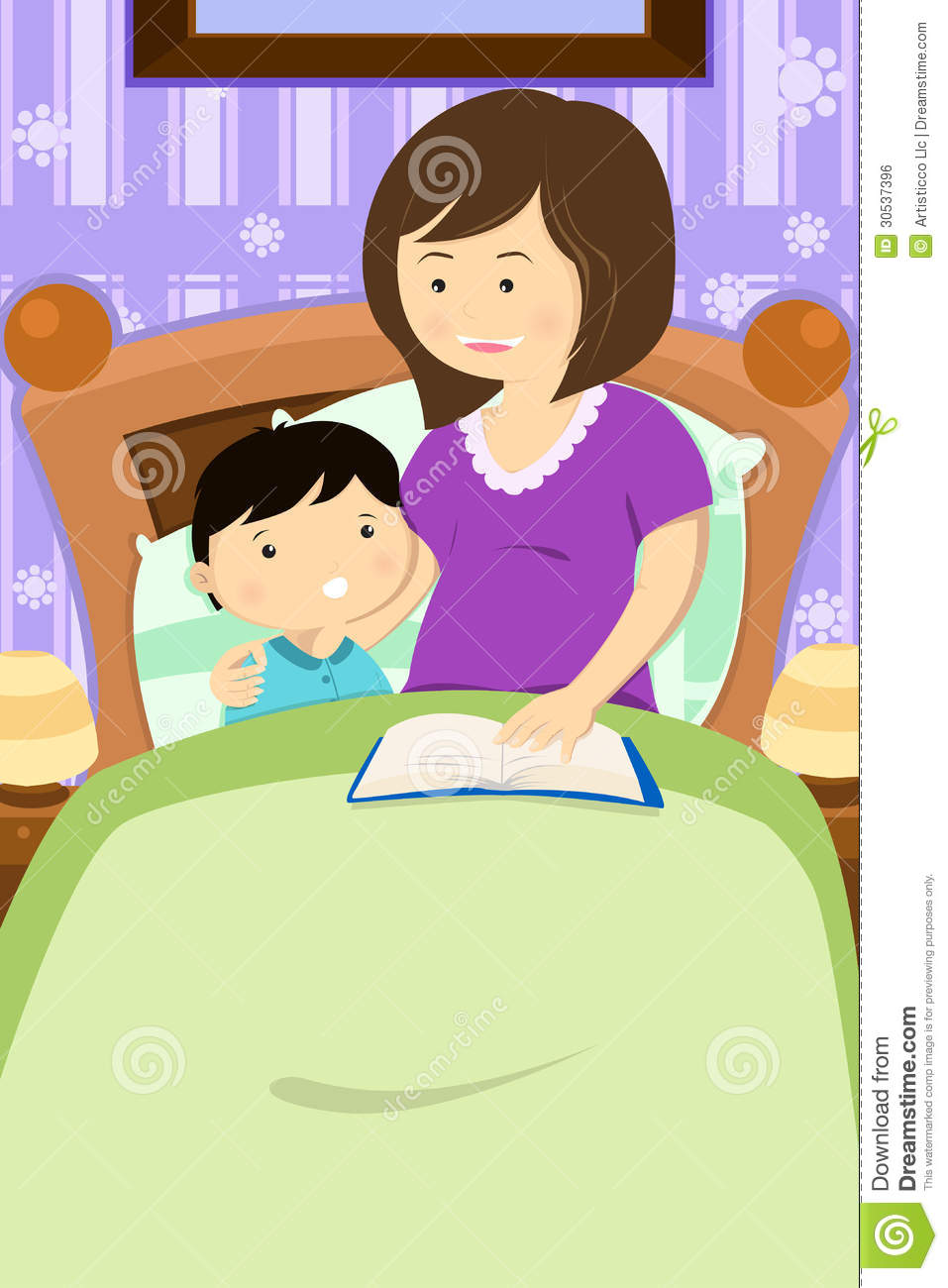 Cliparts gute nacht banner royalty free library Mother Reading A Bedtime Story Royalty Free Stock Image - Image ... banner royalty free library