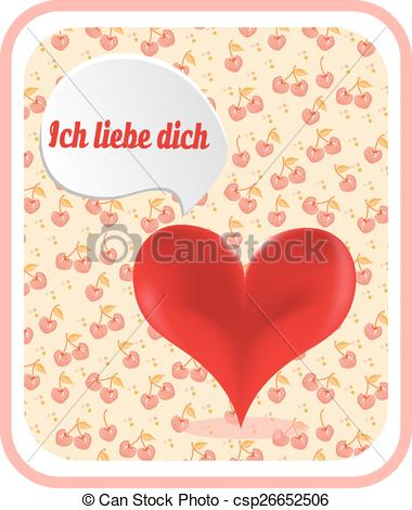 Cliparts ich liebe dich svg black and white Vector Clipart of Valentines card with red heart, text Ich liebe ... svg black and white