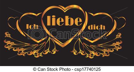 Cliparts ich liebe dich free Vector Illustration of ich liebe dich heart banner csp17740125 ... free