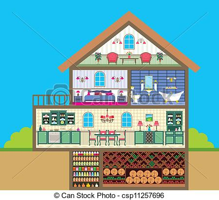Cliparts keller svg free EPS Vectors of House in a cut - Vector illustration. It is created ... svg free