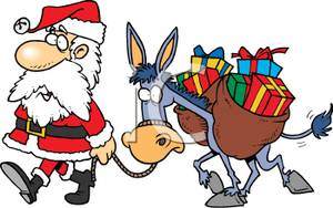 Cliparts laden jpg Leading A Donkey Laden With Presents - Royalty Free Clipart Picture jpg