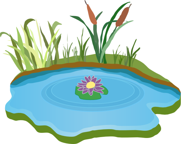 Cliparts lakes. Lake with fish clipart