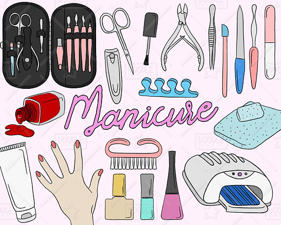 Cliparts manicure black and white library Manicure Clipart Vector Pack, Manicure Doodles, Beauty Clipart, Nail ... black and white library