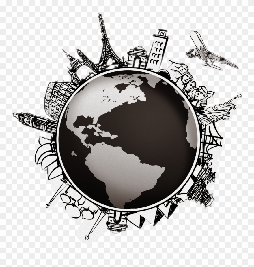 Cliparts of travel all over the world black and white jpg royalty free library Image Library World Globe Map Compass - Travel Around The World ... jpg royalty free library