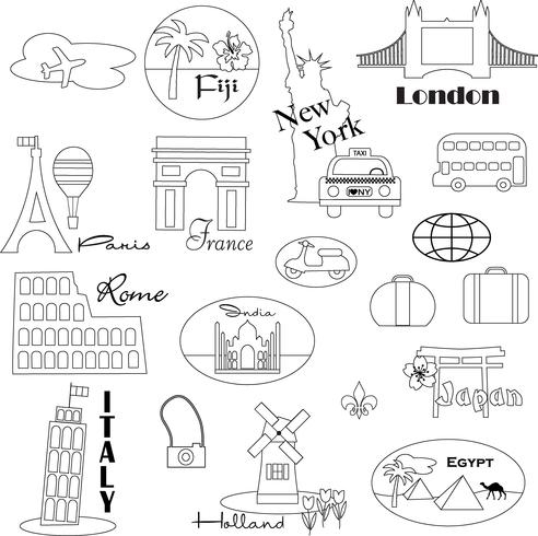 Cliparts of travel all over the world black and white banner library Black Outline World Travel Digital Stamps Clipart Vector - Download ... banner library