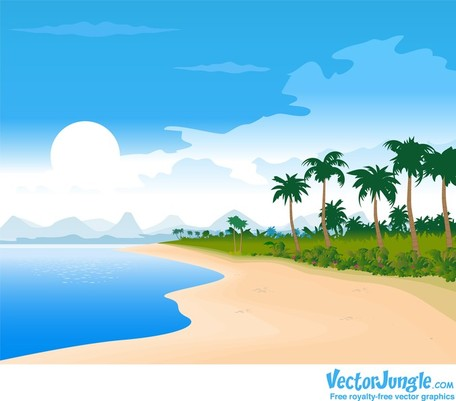 Kostenlose vektor sommer bild. Cliparts strand kostenlos
